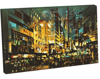 Night scene Cityscape abstract art Print on canvas XT2647