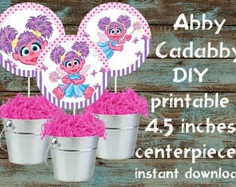 Abby Cadabby printable centerpieces, Abby Cadabby party supplies, Abby Cadabby birthday, Abby Cadabby baby shower, Abby Cadabby Centerpiece