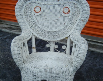 Vintage Shabby Cottage White Scroll Childs Rocking Chair