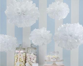 White Tissue Pom Poms x 3