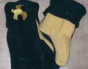 Misses Upcycled Recycled Wool Mittens Deep Teal Tweed and Yellow