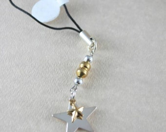 Silver and Gold Star Cell Phone Charm