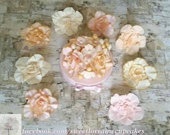 Ruffled rose fantacy flower cupcake toppers, Cupcake decorations, Cake toppers, Edible fondant flowers, Cake decorations