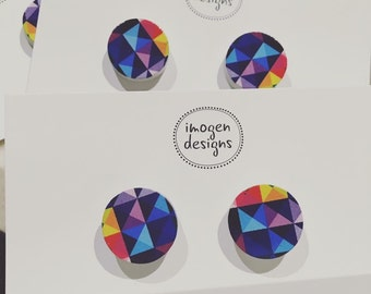 Geometric colourful stud earrings