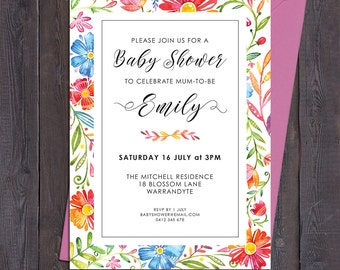Bright floral invitation, customised for any occasion - birthday party bridal shower baby shower, save the date, wedding, digital printable