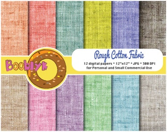 Rough Cotton Fabric Paper Pack - Set of 12 Digital Papers - Instant Download