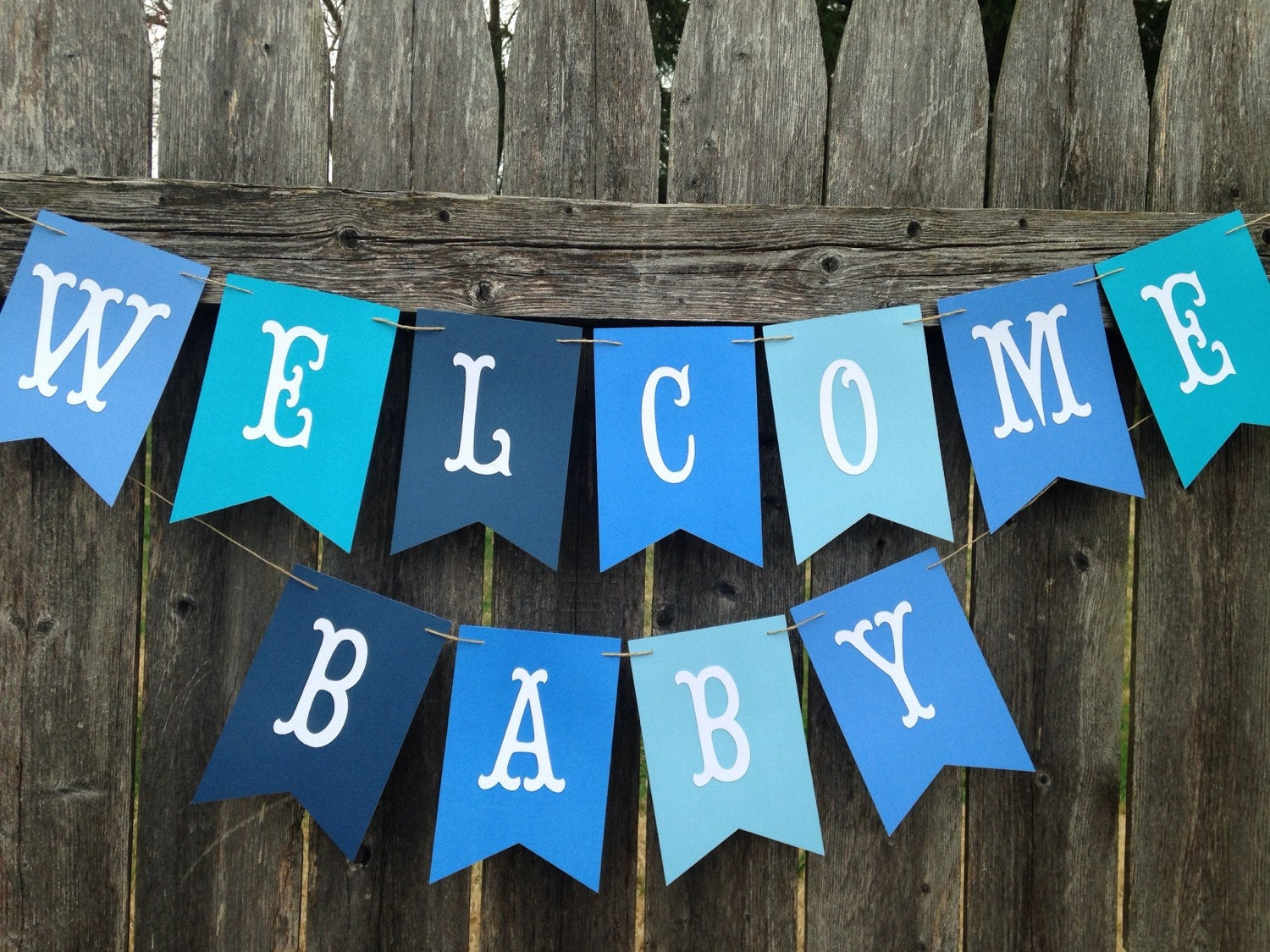 Welcome baby banner welcome baby sign baby boy shower for Welcome home decorations for baby