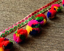 Colourful Pom Pom Trim, Embroidered Trim, Belt Trim, Tassel Trim - 2 yards
