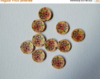 15% OFF Set of 5 Wooden Buttons, 20mm Wooden buttons, Floral Buttons, Decorative Buttons, Brown Wooden Buttons