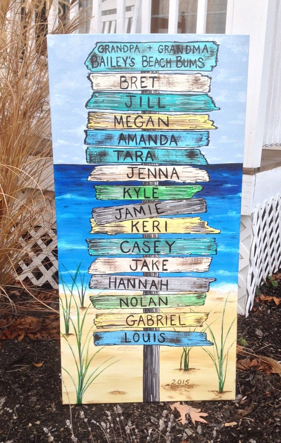 Beach Sign Art Canvas Painting Ocean By MuralsByRegina