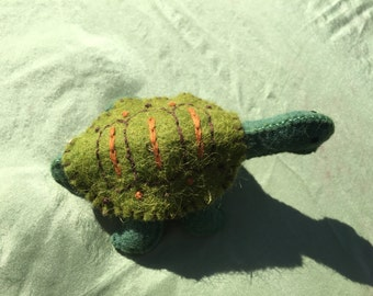 100% Wool Felt Stuffed Turtle