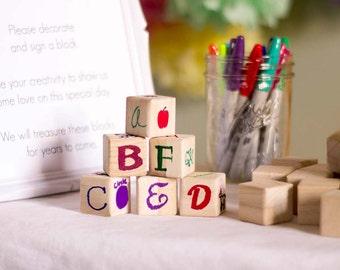 Unique Baby Shower Guestbook 50 Piece - Decorate a Block Baby Shower Game - Baby Shower Guest Book Alternative - Guest Book Idea - Guestbook