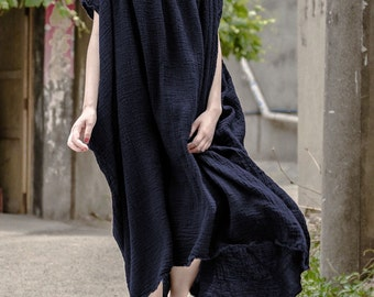 Asymmetrical blouse linen tunic dress linen maxi dress long kaftan shift dress loose sundress boho dress plus size clothing maternity dress