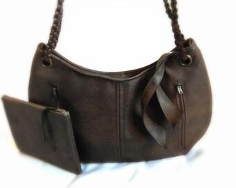 Brown braided handbag