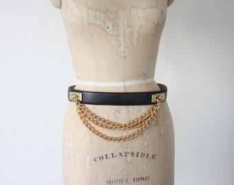 Vintage Liz Claiborne Black Leather and Chain Belt