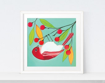 Bird Art Print | Printable Bird Wall Art | Bird Decor | Red Bird Painting | Bird Print Square Wall Art | Digital Download Bird Home Decor