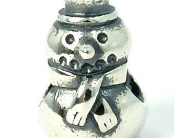 Snowman Christmas Present Antique Silver Dangle Bead Charm, fits Trollbeads