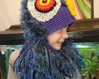 Crochet Exotic Bird/ Colourful Owl Hat