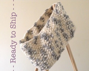 Chunky Cowl Scarf - White & Grey - Alpaca / Wool Blend - Neckwarmer - Hand Knit - Ready to Ship