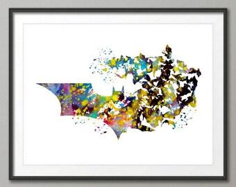 Batman Watercolor Art Print, Super Hero Poster, Art Print, Children's Wall Art Print, Watercolor Painting, Super Hero Wall Decor