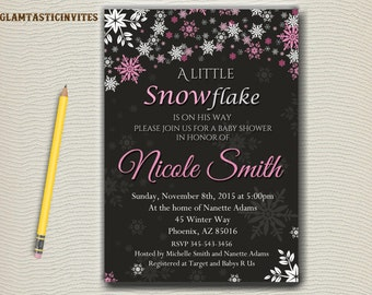 Baby Shower Invitation Winter Baby Baby Its Boy Baby Girl Baby Chalkboard Invitation Shower Invitation Snowflake Baby Snowflake Invitation