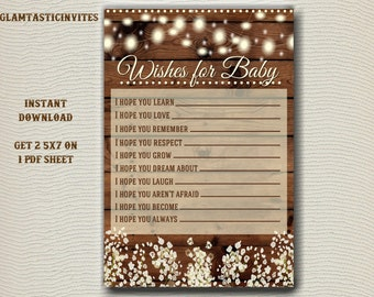 Wishes for Baby, Wishes for Baby Game, Baby Shower Games, Rustic Baby Shower, Rustic Baby Shower Games, Rustic Baby Shower Invitation, Wood