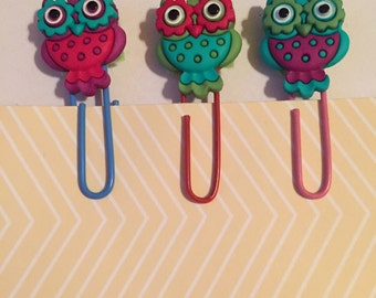 Owl Paperclip Bookmarks / Set of 3