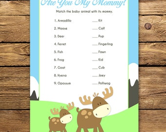 Moose Baby Shower Game - Are You My Mommy Game - Unique Baby Shower Game- Printable Moose Baby Shower Game Instant Download
