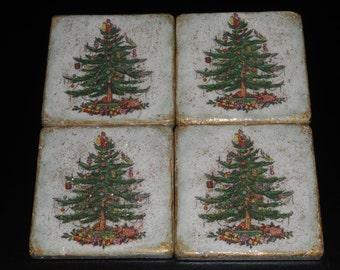 Stone Tile Coasters set of 4 Decoupage Stone Tiles, Christmas Gift