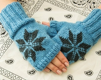 Blue acrylic fingerless mittens with jacquard, warm fingerless gloves, wrist warmers, soft arm warmers