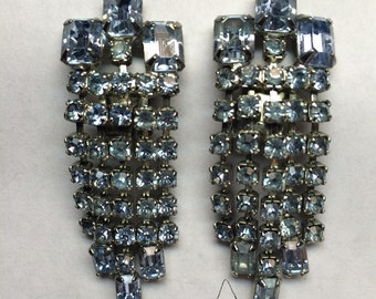 "Perfect 1950's  ""something blue"" wedding rhinstone earrings."