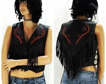 Fringed leather vest, size M / L, black fringe vest, boho western leather vest, All American leather vest, SunnyBohoVintage