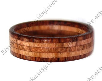 Wood Ring Rosewood and Olivewood, Wooden Ring, Wooden Wedding Ring, Wood Engagement Ring, Custom Wood Ring, Anniversary Gift, Jewelry