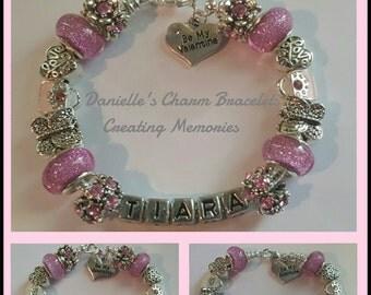 "Pink Personalized ""Be My Valentine"" Charm Bracelet"