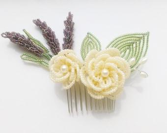 Bridal lavender hair comb, white flower hair comb, beaded flower hair comb, beaded lavender, white rose hair piece, flower hair accessories