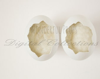 Digital Newborn Photography Egg Prop Backdrop - Cream, for Twins
