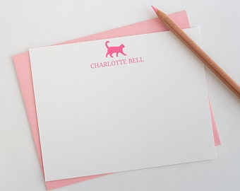 Personalized Stationery - Set of 10 // Cat Stationery Set // Cat Note Card Set // Cat Lover Stationery // Cute Cat Note Cards // Cat Cards
