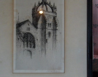 Jackson Simpson Castle Etching, Marked and Signed