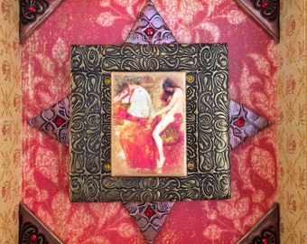 RESERVED Polymer clay wall art, Lady Godiva mixed media mosaic, framed Pre-Raphaelite polymer clay mosaic