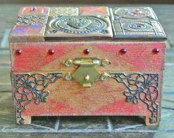 Medieval box, Treasure chest, Jewellery box, Trinket box, Polymer clay mosaic, Keepsake box, Hand painted and embellished