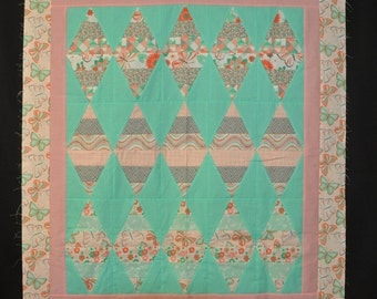 Diamonds Modern Quilt Top Conteporary Fabric Prints 37 1/2 x 43 1/2 Unfinished Free Shipping