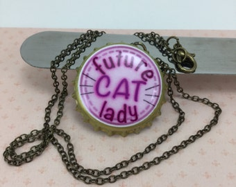 NECKLACE- future cat lady bottle cap necklace