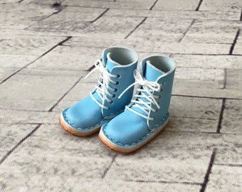 Real leather: miniature lace-up boots [Aqua blue] (for blythe)
