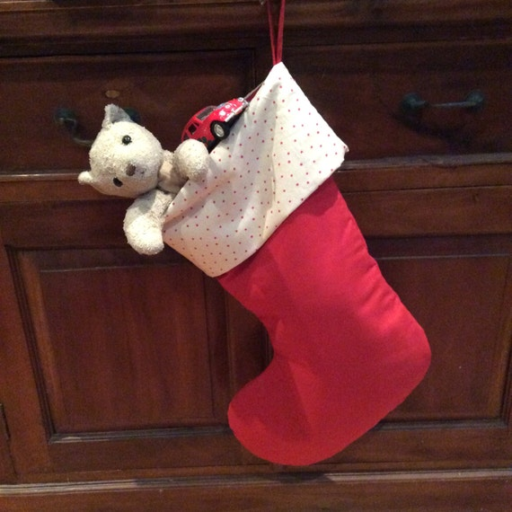 Red Calico & Small Red Star Christmas Stockings, Quality Padded and Lined, 55cm Long