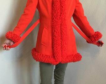 Vintage Lilli Ann Coat, size small, Unique Bright Orange MadMen Coat
