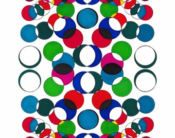 "Circle Symmetry - 15.5"" x 12.5"" print of original ink drawing"