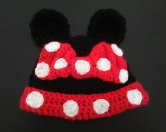 Minnie Mouse inspired Baby Girls Hat,Made to Order