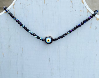 "Black Irridescent Crystal ""Evil Eye"" Necklace"