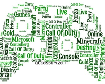 5x7 or A4 Personalised Xbox Controller Word Art Print * Digital File Also Available