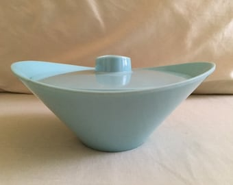 Vintage Retro Turquoise Melamine Bowl with Lid